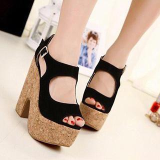 Cutout Platform Sandals