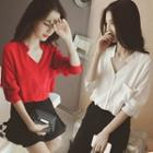Long-sleeve Stand Collar Chiffon Shirt