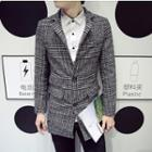 Houndstooth Check Single-breasted Jacket