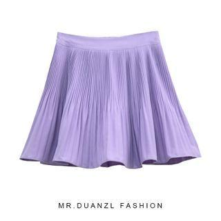 Plain Accordion Pleated Mini A-line Skirt