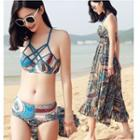 Set: Strappy Bikini + Printed Midi Sundress