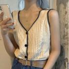 Cable Knit Vest Vest - Off-white - One Size