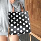 Polka Dot Faux Leather Tote With Shoulder Strap
