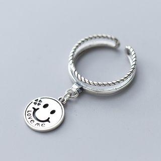 925 Sterling Silver Smiley Layered Open Ring As Shown In Figure - One Size