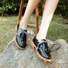 Bow Faux Leather Oxfords