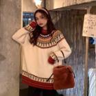 Long-sleeve Patterned Knit Sweater
