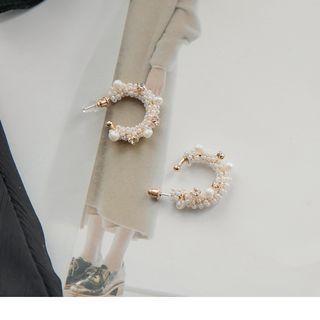 Beaded Rhinestone Earrings Gold & White - F