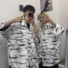 Couple Matching Print Oversized Shirt