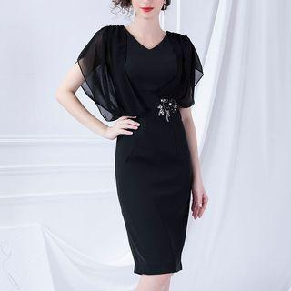 Flower Detail Short-sleeve Sheath Dress