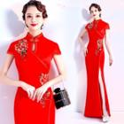 Flower Embroidered Short-sleeve Maxi Qipao