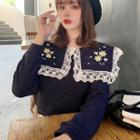 Embroidered Sailor Collar Long-sleeve Top