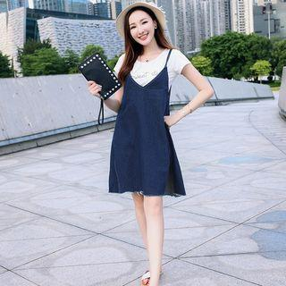 Fray Hem Spaghetti Strap Denim Dress