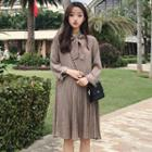 Plaid Long Sleeve Pleated Dress