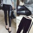 Lace Inset Faux Leather Skinny Pants
