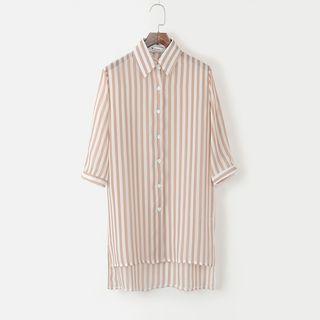 Striped Long Chiffon Shirt