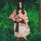 Japanese-style Pleated Printed Skirt