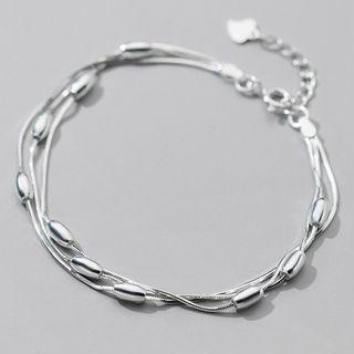 Layered Sterling Silver Bracelet S925 Silver - Bracelet - Silver - One Size