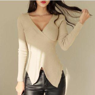 Long-sleeve V-neck Knit Top Almond - One Size
