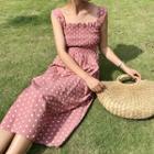 Dotted Sleeveless A-line Midi Dress