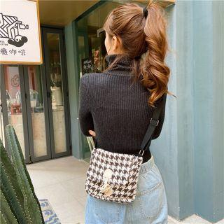Houndstooth Toggle Messenger Bag