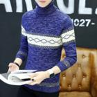 Turtleneck Contrast-color Sweater
