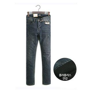Distressed Fleece-lined Slim-fit Jeans