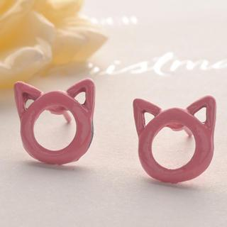 Hollowed Head Of Small Cat Earring  Pink - One Size