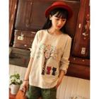 Long-sleeve Applique Printed Top Off-white - One Size
