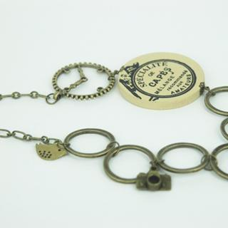 Old Vintage Circles Long Necklace One Size