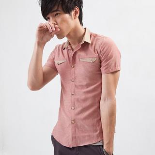 Short-sleeve Contrast-trim Shirt