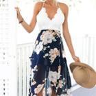 Sleeveless Lace-panel Printed Dress