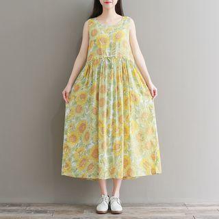 Floral Sleeveless Sleeveless Midi A-line Dress