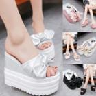 Platform Wedge Bow-accent Shimmer Slide Sandals