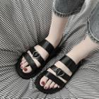 Heart Buckled Platform Sandals