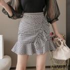 Gingham Ruffle Mini Pencil Skirt