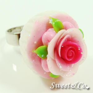 Sweet Pink Glitter Cupcake Floral Ring