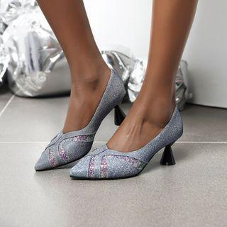 Flared Heel Pointed Sequined Pumps