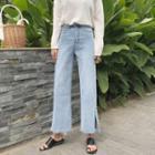 Fray-hem Slit-hem Cropped Jeans