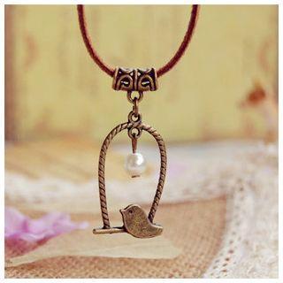 Faux Pearl Bird Pendant Necklace