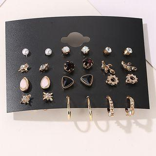 12 Pair Set: Faux Pearl / Alloy Earring (assorted Designs) 01 - 3082 - Gold - One Size