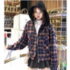 Detachable Hood Plaid Zip Jacket