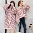 Geometric Print Sweater / Midi Knit Dress