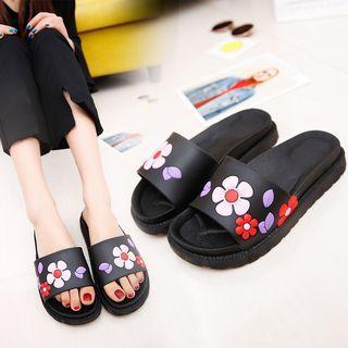 Platform Floral Slippers
