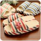 Striped Bow Applique Slippers