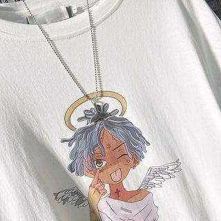 Mock Two-piece Cartoon Print Long-sleeve T-shirt