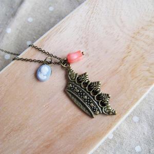 Vintage Copper Crown Necklace