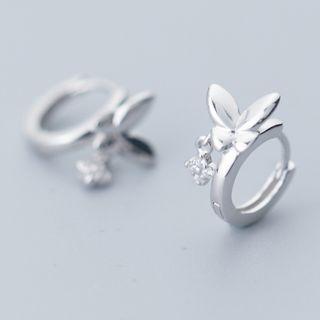 925 Sterling Silver Rhinestone Drop Butterfly Earring As Shown In Figure - One Size