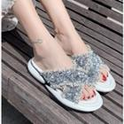 Sequin Accent Frayed Platform Slippers