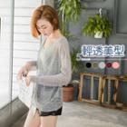 Pocketed Sheer-slub-knit Top
