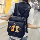 Cartoon Cat Applique Backpack